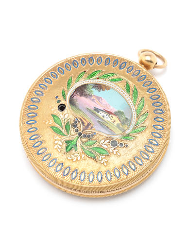 fine musical portrait miniature locket in gold and enamel