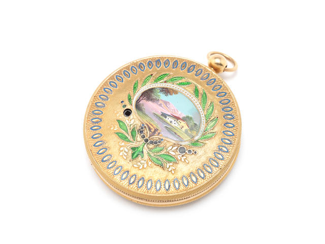 A fine gold and enamel portrait miniature musical locket, circa 1810,