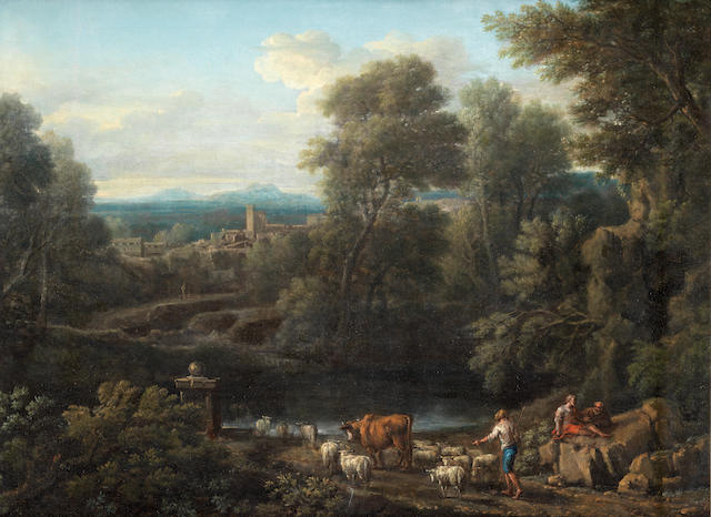 John Wootton (Snitterfield 1682-1764 London) A drover and other figures by a stream in a classical landscape