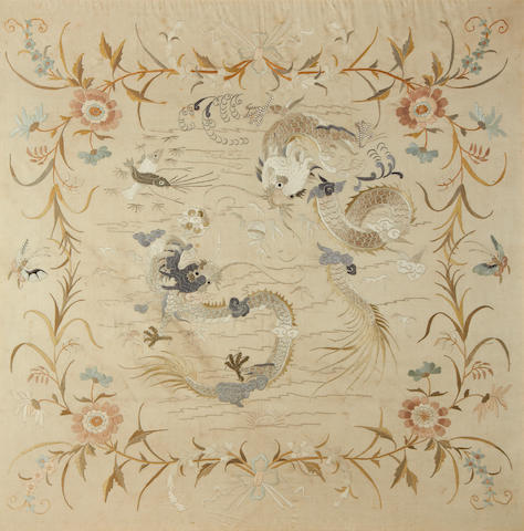 A cream-ground silk textile 20th century