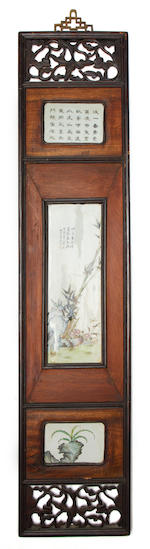 Twelve porcelain plaques mounted in four Chinese wood frames Qing Dynasty or later