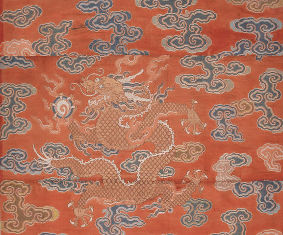 A pair of elegant textile fragments Ming/Qing Dynasty
