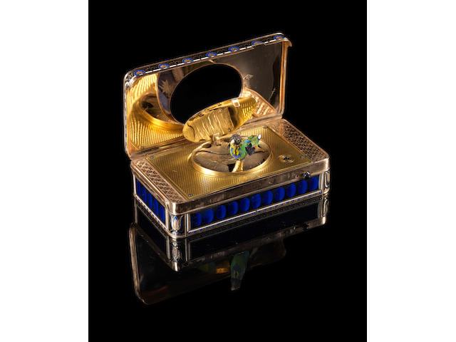 The Charles X gold, enamel and split-seed pearl oiseau chantant and musical portrait box.
