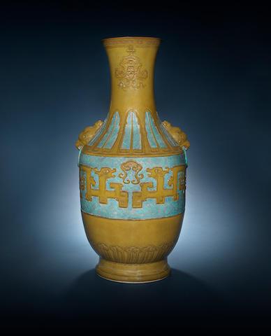 A rare large teadust and robin's-egg-glazed vase 18th/19th century