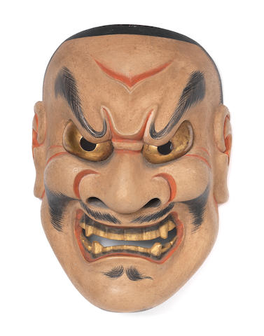 A wood Noh mask of Shikami By Nakamura Naohiko (1878-1945), 20th century