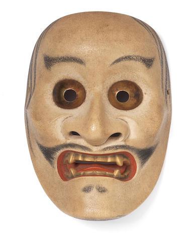 A wood Noh mask of Kibatobide By Nakamura Naohiko (1878-1945), 20th century