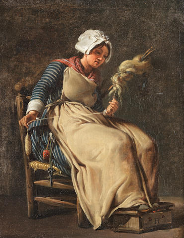 Hugues Taraval (Paris 1729-1785) A kitchen maid knitting