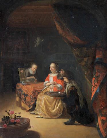 Godfried Schalcken (Dordrecht 1643-1706 The Hague) A lady at her toilet