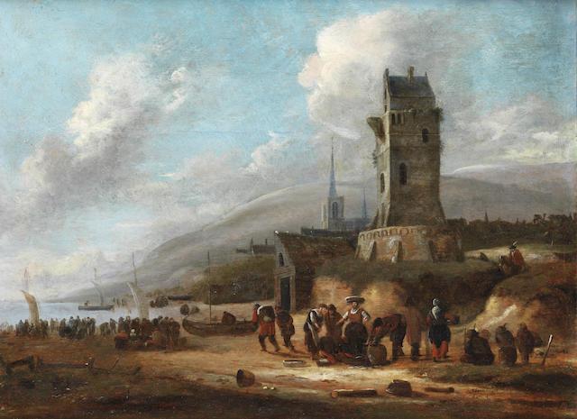 Thomas Heeremans (Haarlem 1640-1697) Fishermen at work in the harbour at Katwick