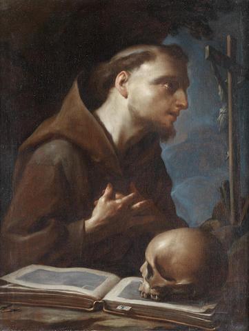 Francesco Trevisani (Capo d'Istria 1656-1746 Rome) Saint Francis at prayer before the Crucifix