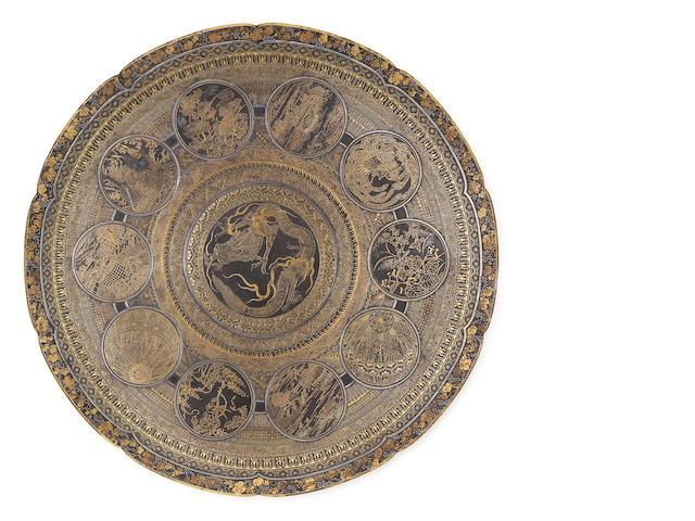 An inlaid iron circular dish By the Komai Company of Kyoto, Meiji Period