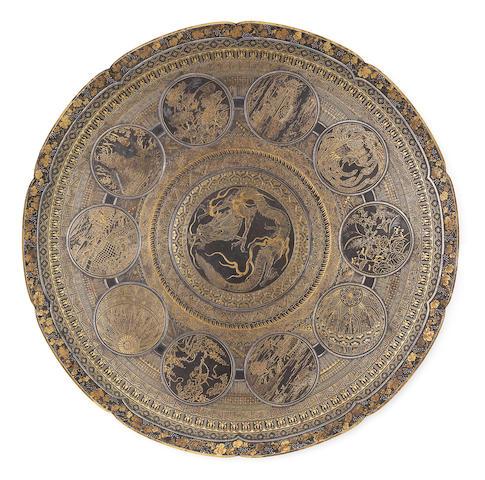 An inlaid iron circular dish By the Komai Company of Kyoto, Meiji Period