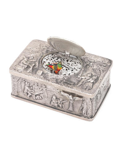 A German silver singing bird box,   case circa 1920, movement post-1950,