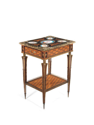 A 19th century gilt-brass and porcelain mounted trellis parquetry tablepossibly by Donald Ross