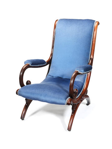 A Regency rosewood library chair