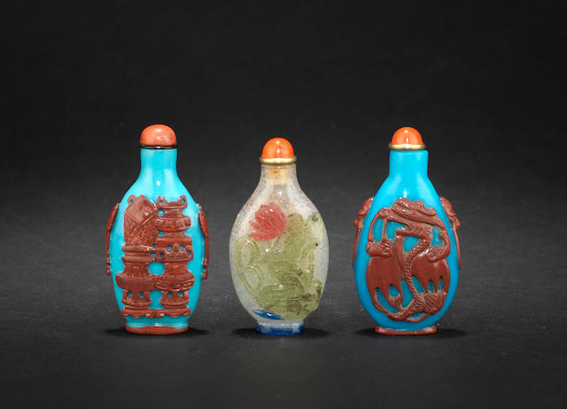 Three overlay glass snuff bottles