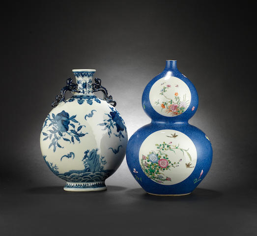 A blue and white moonflask Qianlong six-character mark