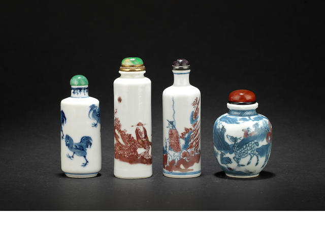 Four porcelain snuff bottles