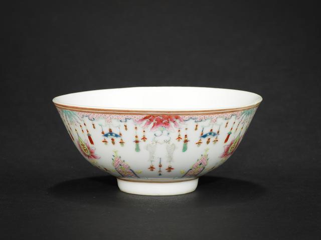 A famille rose bowl Shendetang zhi four-character mark