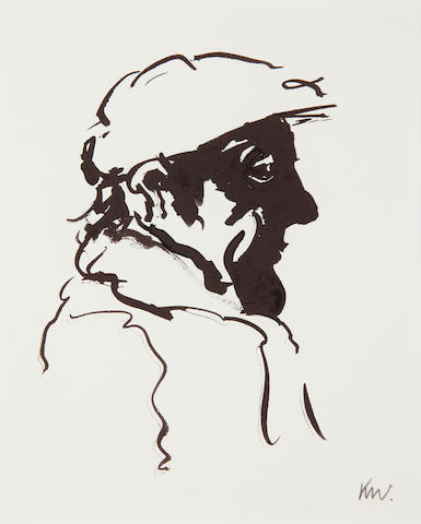 Sir Kyffin Williams R.A. (British, 1918-2006) Portrait of a man in profile