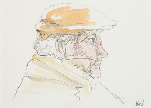 Sir Kyffin Williams R.A. (British, 1918-2006) Portrait of a farmer in flat cap