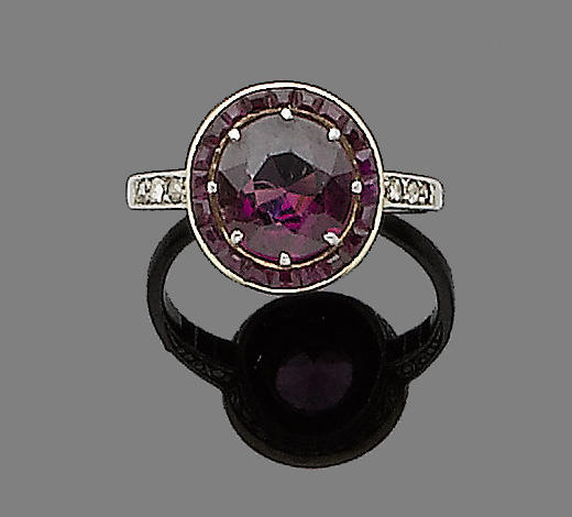 A garnet and ruby dress ring