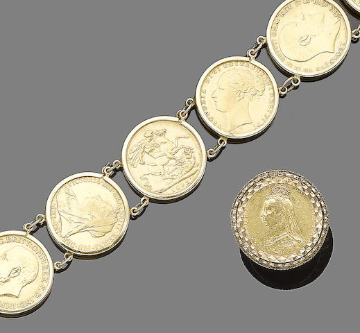 A coin jewellery suite, (3) (partially illustrated)