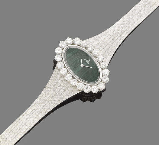A malachite and diamond wristwatch, by Omega