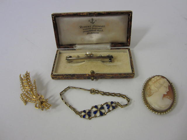 A Victorian gold half pearl set floral spray brooch (4)