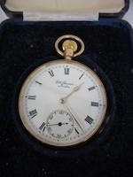 Benson: A 9 carat gold keyless wound open face pocket watch, (7)