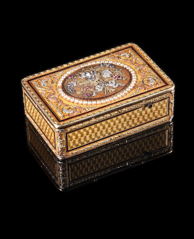 A fine veri-gold, diamond and ruby embellished singing bird box by Rochet Freres, circa 1825,