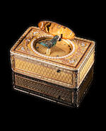 A very fine veri-gold, split seed-pearl, diamond and ruby embellished singing bird box by Rochat Frères, circa 1820,