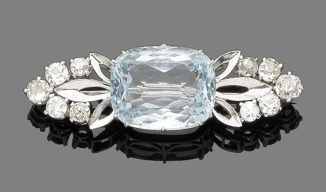 An aquamarine and diamond brooch