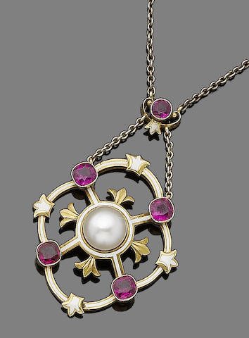 A ruby, pearl and enamel pendant necklace,