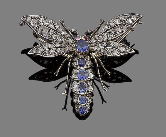 A late 19th century sapphire, ruby and diamond dragonfly brooch,