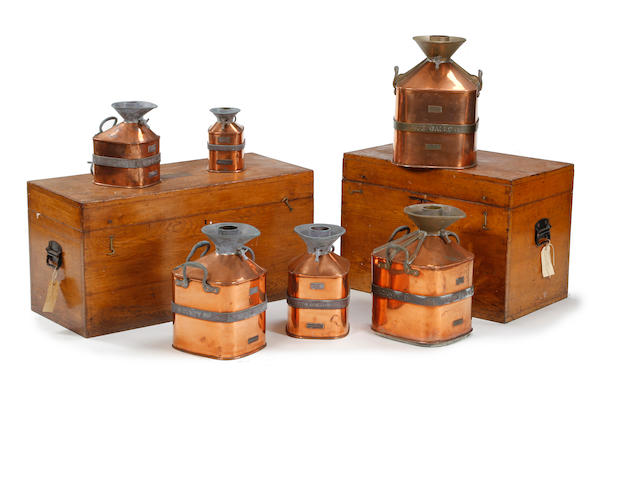 A matched set of six brass and copper 'Chekpump' petrol measures, circa 1931, for the County of WestmorlandTwo marked 'Serial No. 161', four marked 'Serial No. 165'