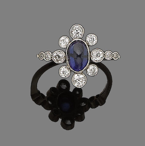A synthetic sapphire and diamond cluster ring