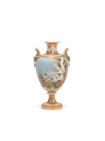 A Royal Worcester vase by Charley Baldwyn, circa 1902