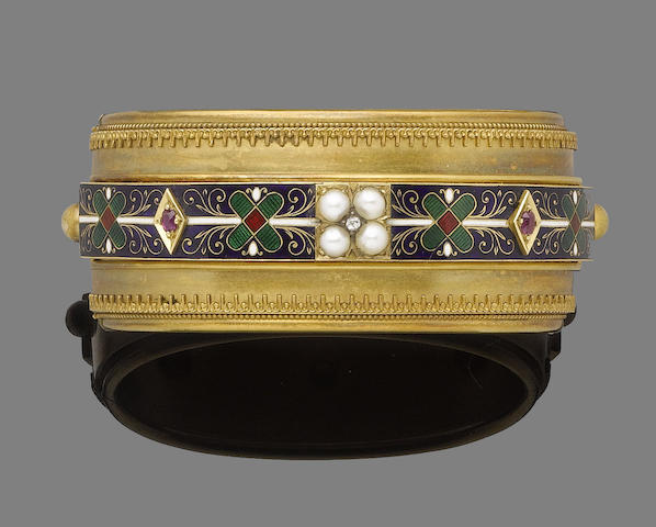 An enamel, pearl and diamond bangle,