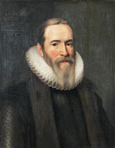 Circle of Michiel Jansz. van Mierevelt (Delft 1567-1641) Portrait of Johan van Oldenbarnevelt, half-length, in a black coat, a fur mantle and white ruff