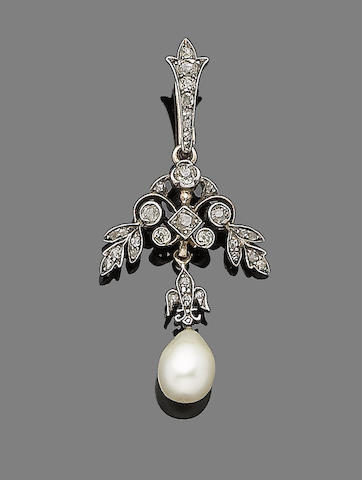 A natural pearl and diamond pendant