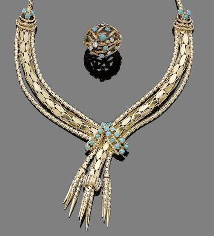 A turquoise-set necklace, bracelet and ring suite (3) (partially illustrated)
