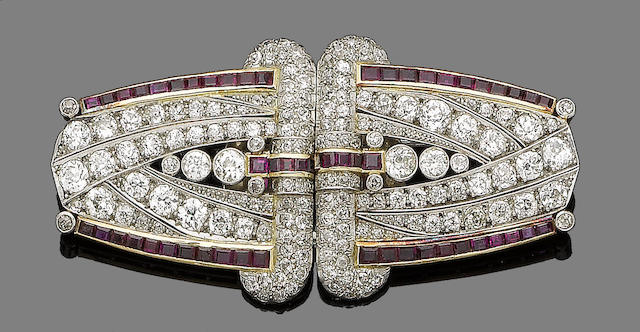 A ruby and diamond double clip brooch,