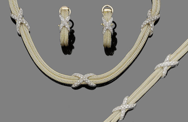 A diamond-set necklace, bracelet and earring suite, by Mappin & Webb, (3)