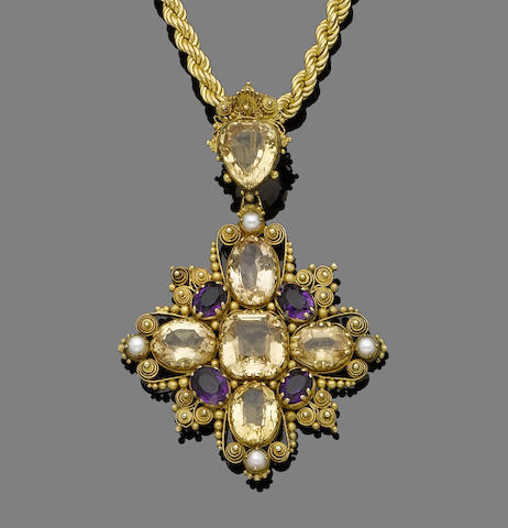 A mid 19th century topaz, amethyst and seed pearl pendant necklace