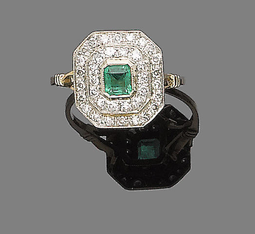 An emerald and diamond plaque ring