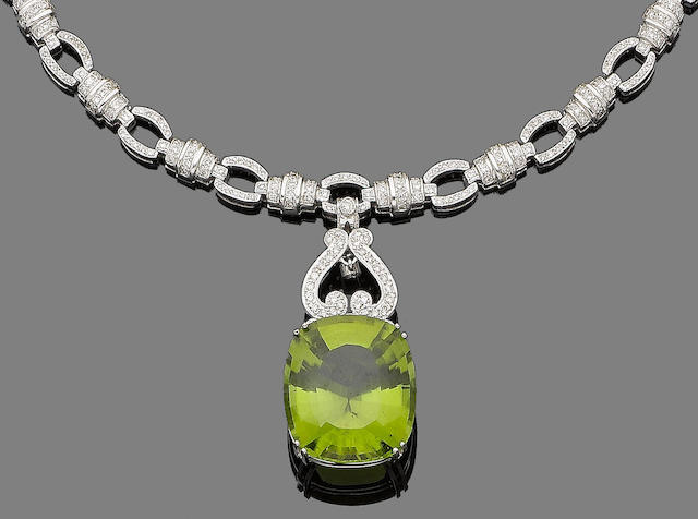 A peridot and diamond necklace
