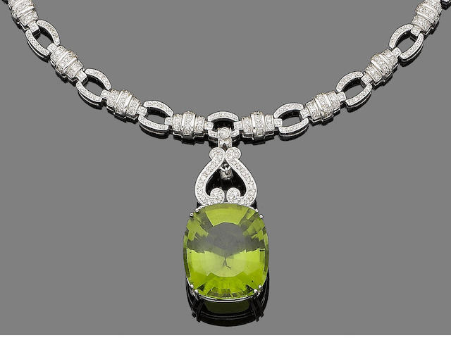 A peridot and diamond necklace