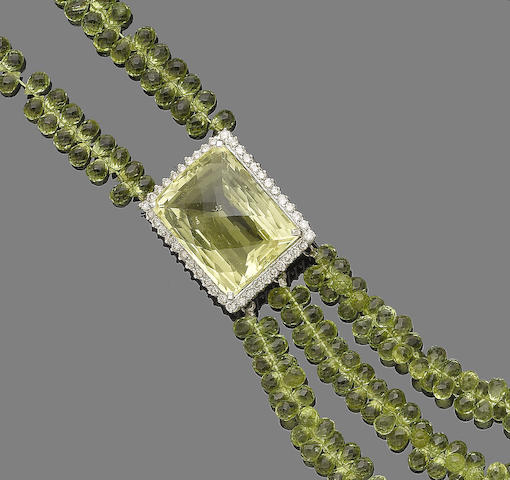A peridot, quartz and diamond necklace