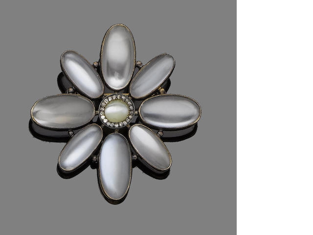 A moonstone, chrysoberyl and diamond brooch